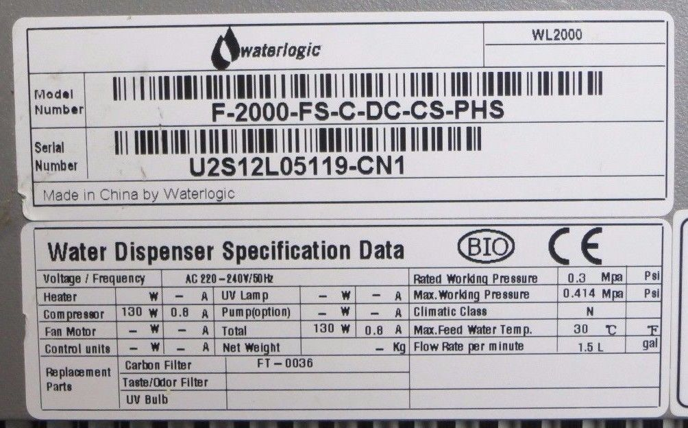 Waterlogic Wl2000 Cold Water Mains Connected Water Cooler